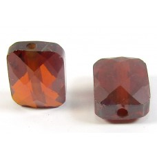 1 Zircon Oblong Shape Bead - Burnt Red