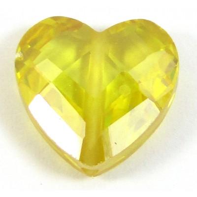 1 Zircon Heart Bead - Sunshine Yellow