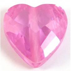 1 Zircon Heart Bead - Rose