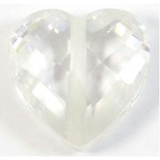 1 Zircon Heart Bead - Diamond Clear