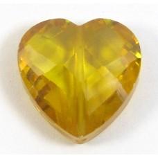 1 Zircon Heart Bead - Gold
