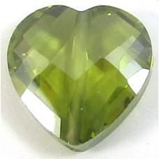 1 Zircon Heart Bead - Olivine