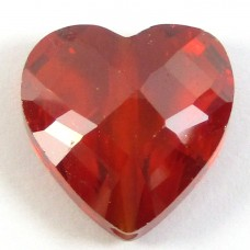 1 Zircon Heart Bead - Burnt Red