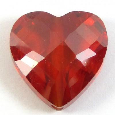 1 Zircon Heart Bead - Burnt Red