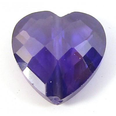 1 Zircon Heart Bead - Purple