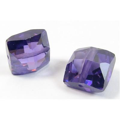 1 Zircon Cushion Shape Bead - Purple