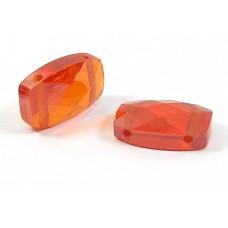 1 Zircon Double Drilled Bead - Desert Orange