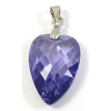 1 Zircon and Sterling Silver Heart Pendant - Mid Purple