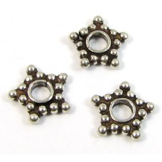 10 Sterling Silver Star-Like Spacer Beads