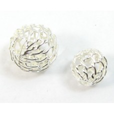 10 Sterling Silver 8mm Round Mesh Beads