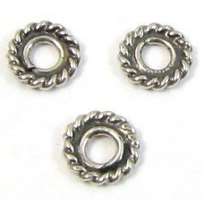 10 Sterling Silver Bali 5x1mm Rope Spacer Beads