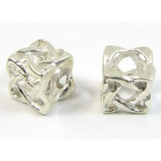 1 Sterling Silver Large Hole Box Shape Bead