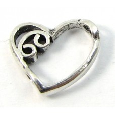 1 Sterling Silver Fancy Heart With Beading Hole