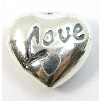 1 Sterling Silver Side to Side Heart Bead Love