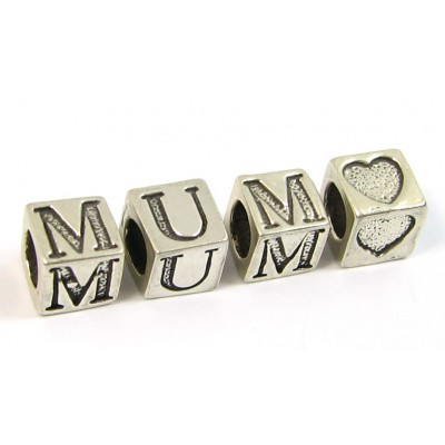 Sterling Silver Alphabet Beads MUM Plus a Heart