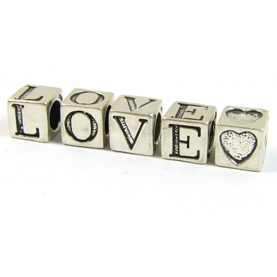 Sterling Silver Alphabet Beads LOVE Plus a Heart
