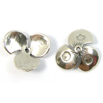 1 Sterling Silver Pansy Leaf Design Beadcap