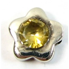 1 Sterling Silver and Citrine Little Flower Bead