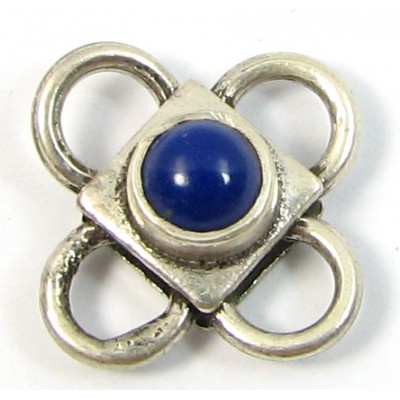 1 Sterling Silver Spacer Bead with Lapis Cabochon