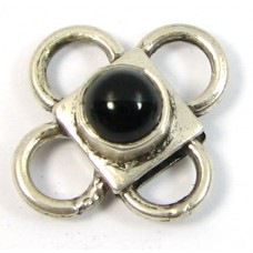 1 Sterling Silver Spacer Bead with Black Onyx Cabochon