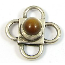 1 Sterling Silver Spacer Bead with Tigers Eye Cabochon