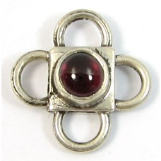 1 Sterling Silver Spacer Bead with Garnet Cabochon