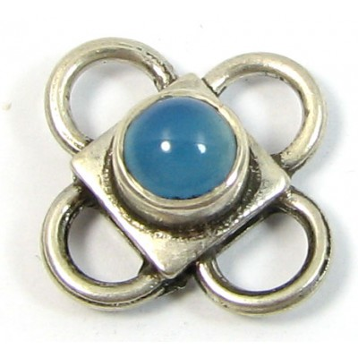 1 Sterling Silver Spacer Bead with Blue Chalcedony Cabochon