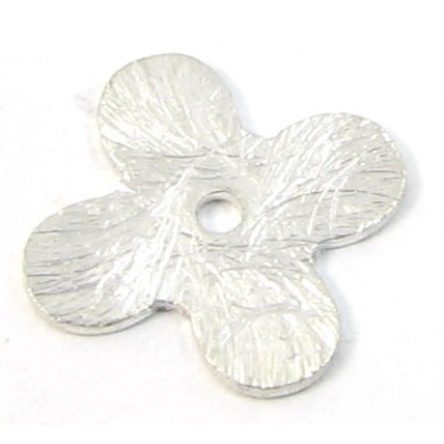 1 Brushed Sterling Silver Quatrefoil Disc