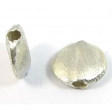 1 Brushed Sterling Silver 10mm Lentil Bead
