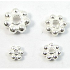10 Bright Sterling Silver 5mm Daisy Spacer Beads
