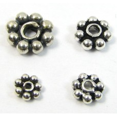 10 Sterling Silver Oxidised 4mm Daisy Spacer Beads