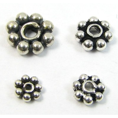 10 Sterling Silver Oxidised 3mm Daisy Spacer Beads