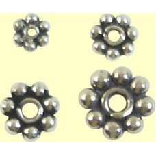 1 Sterling Silver Oxidised 6mm Daisy Spacer