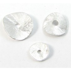 1 Brushed Sterling Silver 10mm Wavy Disc Spacer