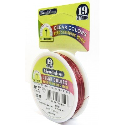 19 Strand Beadalon Wire 0.015 Pink 30 ft