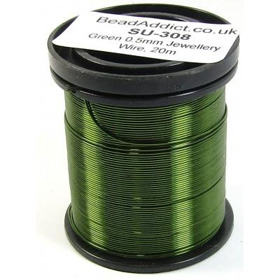 1 Spool Green 0.5mm Copper Jewellery Wire