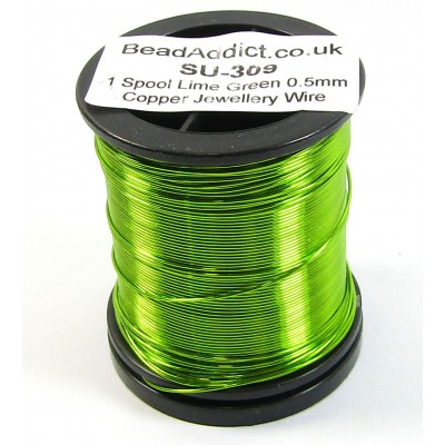 1 Spool Lime Green 0.5mm Copper Jewellery Wire