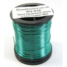 1 Spool Aquamarine Green 0.5mm Copper Jewellery Wire