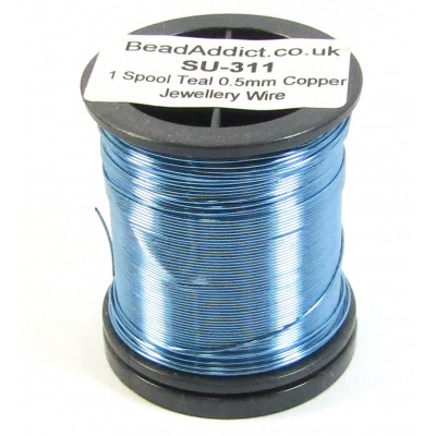 1 Spool Teal 0.5mm Copper Jewellery Wire