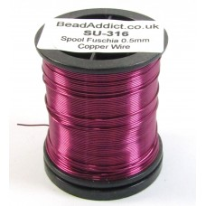 1 Spool Fuschia 0.5mm Copper Jewellery Wire