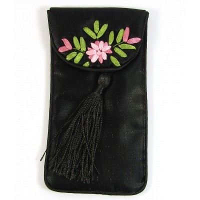 1 Small Black Tasselled Jewellery Pouch with Silk Embroidery