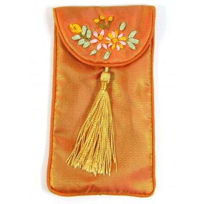 1 Small Sun Tasselled Jewellery Pouch with Silk Embroidery