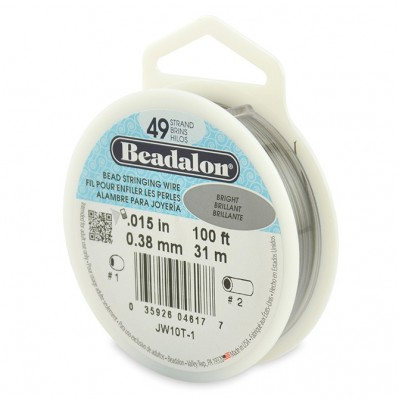 49 Strand Beadalon Wire 0.015 Bright 100 ft