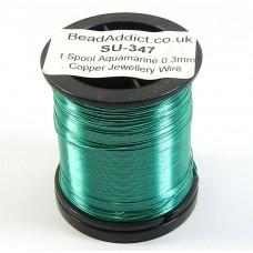 1 Spool Aquamarine Green 0.3mm Copper Jewellery Wire