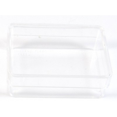 5 small clear storage boxes