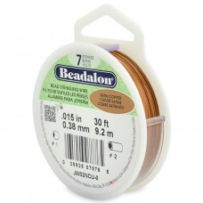 7 Strand Beadalon Wire 0.015 Satin Copper 30 ft