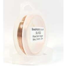 1 Spool Rose Gold Coloured Copper Jewellery Wire, 0.4mm