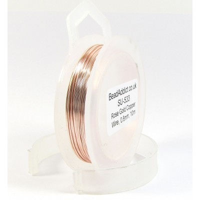 1 Spool Rose Gold Coloured Copper Jewellery Wire, 0.8mm