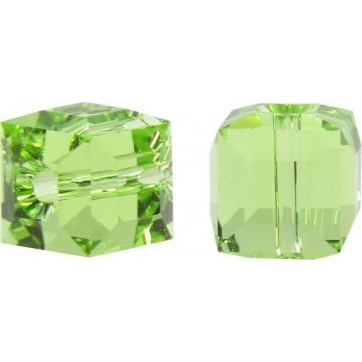 10 Swarovski Crystal Peridot 6mm Cube Beads Article 5601