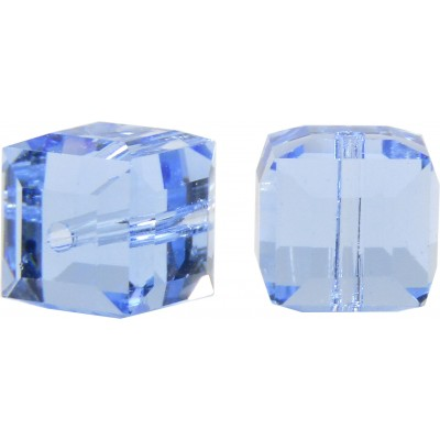 10 Swarovski Crystal Light Sapphire 6mm Cube Beads Article 5601